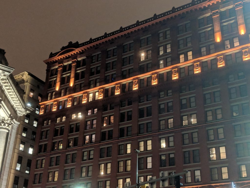 Cleveland's Schofield Building at night.