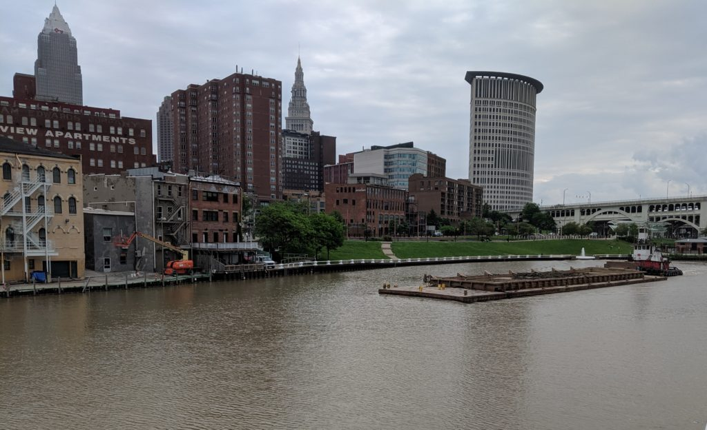 Barge coming up the Cuyahoga River