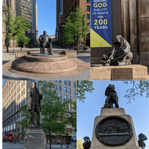 Statues found on Cleveland's Public Square Past and Present